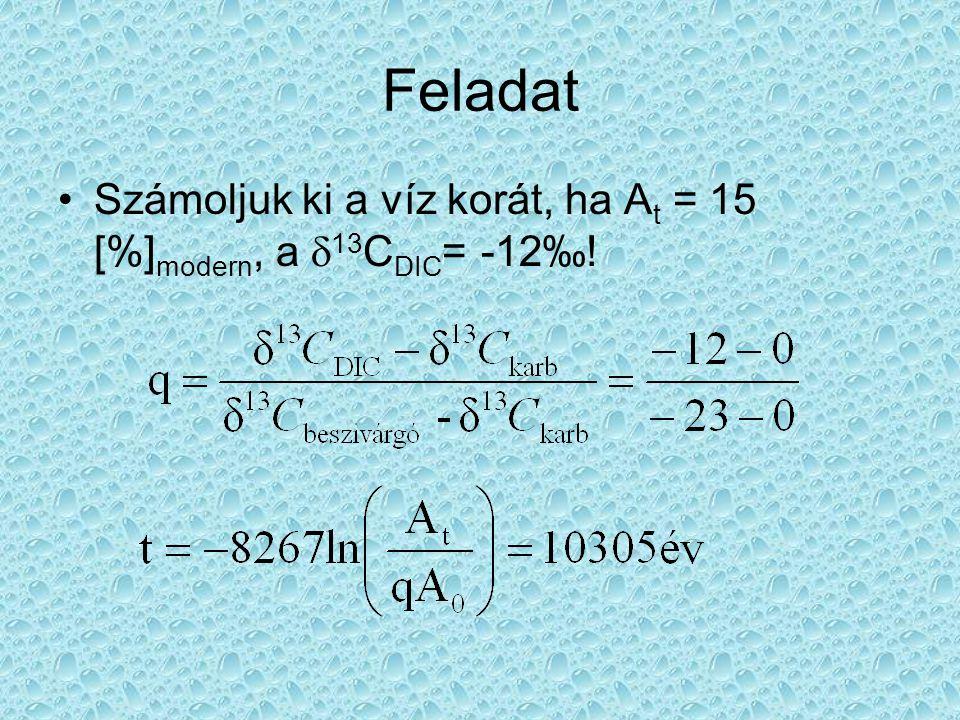 Feladat Számoljuk ki a víz korát, ha At = 15 [%]modern, a d13CDIC= -12‰!